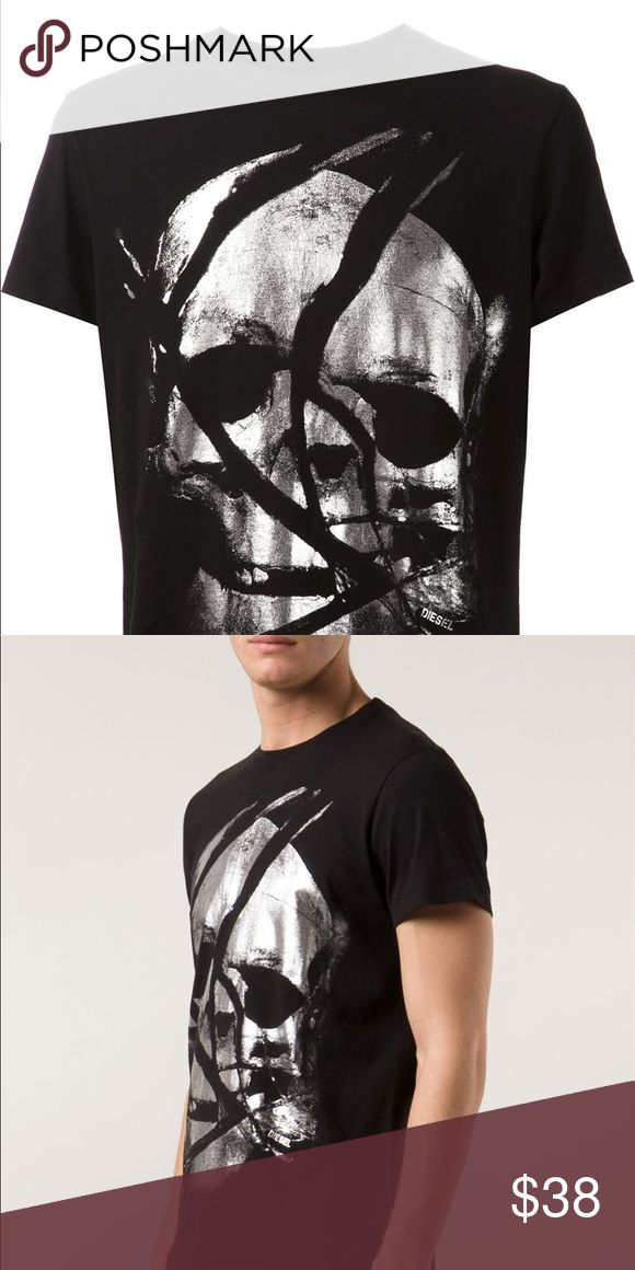 Diesel t-shirt men's Black cotton skull print T-shirt from Diesel. Imported 100% cotton  Size & Fit Fitting Information Item fits true to size Measurement Information Centimeters  Inches Model Height: 6 ft 1 in Bust: 33.5 in Hips: 36.6 in Waist: 29.9 in Model is wearing size: m Diesel Shirts Tees - Short Sleeve