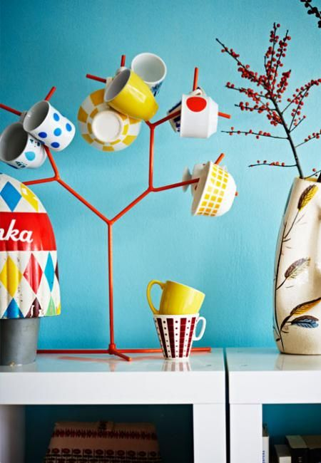 What if you painted the tree on the wall and hung the mugs with hooks??