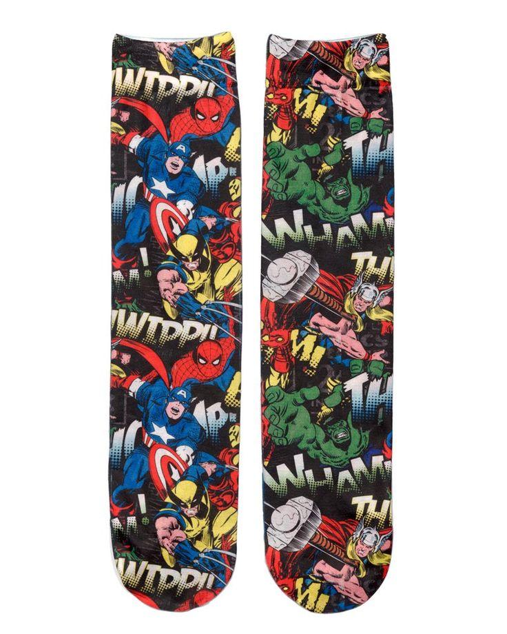 Amazon.com: Marvel Comics Sublimated Mens Character Crew Sock: Clothing