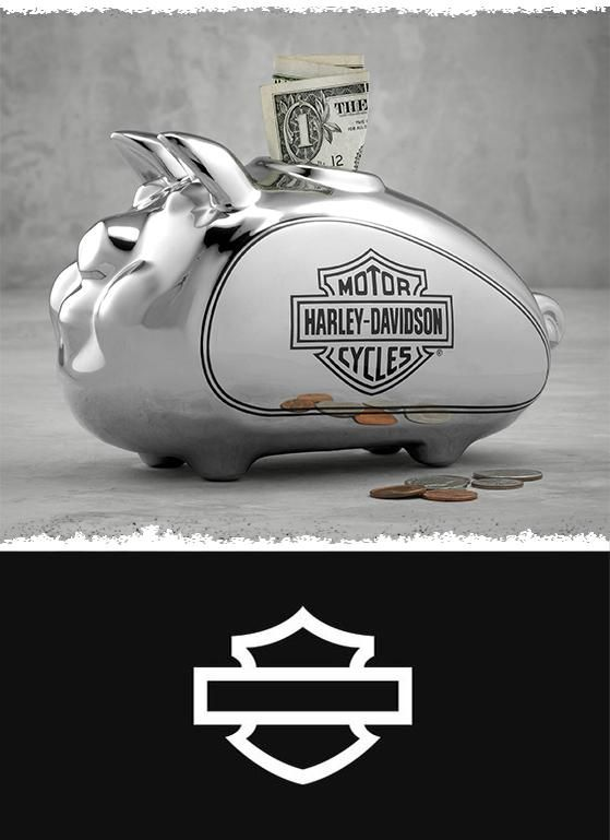 Features the signature tank-style belly to collect loose change. | Harley-Davidson Chrome HOG Bank