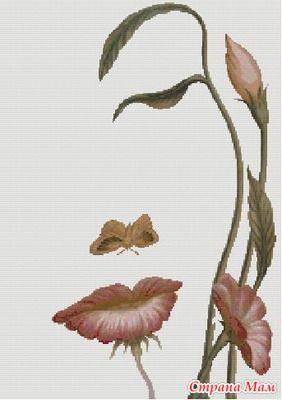 femme - woman  - fleur (voir grille) - point de croix - cross stitch - Blog : http://broderiemimie44.canalblog.com/