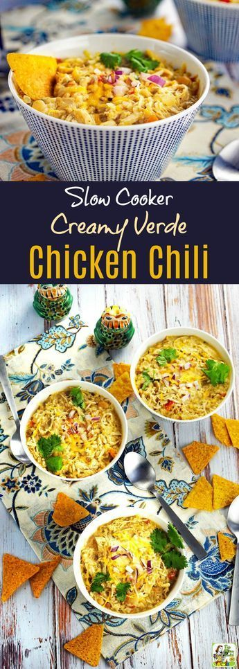 On the lookout for chicken breast slow cooker recipes? Try this Slow Cooker Creamy Verde Chicken Chili Recipe! Super easy because it's made with canned beans, jarred salsa, and canned tomatoes. No need to chop ingredients. Perfect for easy weeknight meals, and tailgating parties. Click to get this easy, healthy and gluten free chicken chili Crock-Pot recipe.