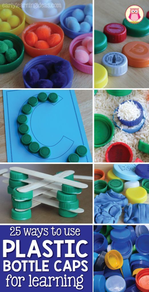 Plastic bottle cap lids are perfectly sized for little hands and can be used for so many things. Here are 25 ways to use plastic bottle caps for learning activities for kids in preschool, pre-k, kindergarten, and early childhood education.