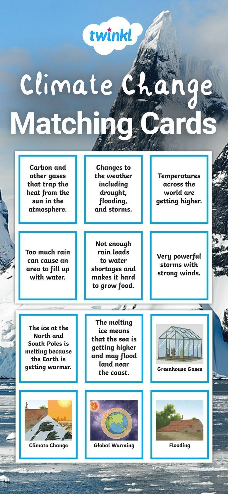 Climate Change Matching Cards Climatechange Climatechangeactivities Climatec Climate Climate Change Activities Climate Change Effects Climate Change