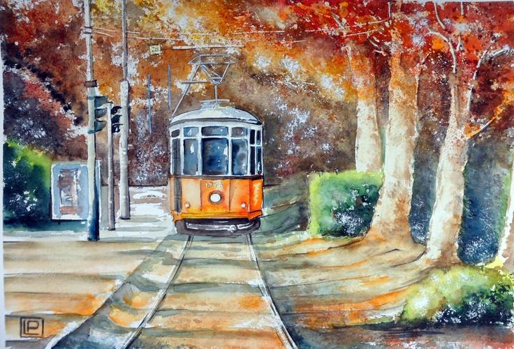 - tram ai Bastioni di porta Venezia_ acquerello di Lorenza Pasquali 35x51 100% cotone 300gr/mq