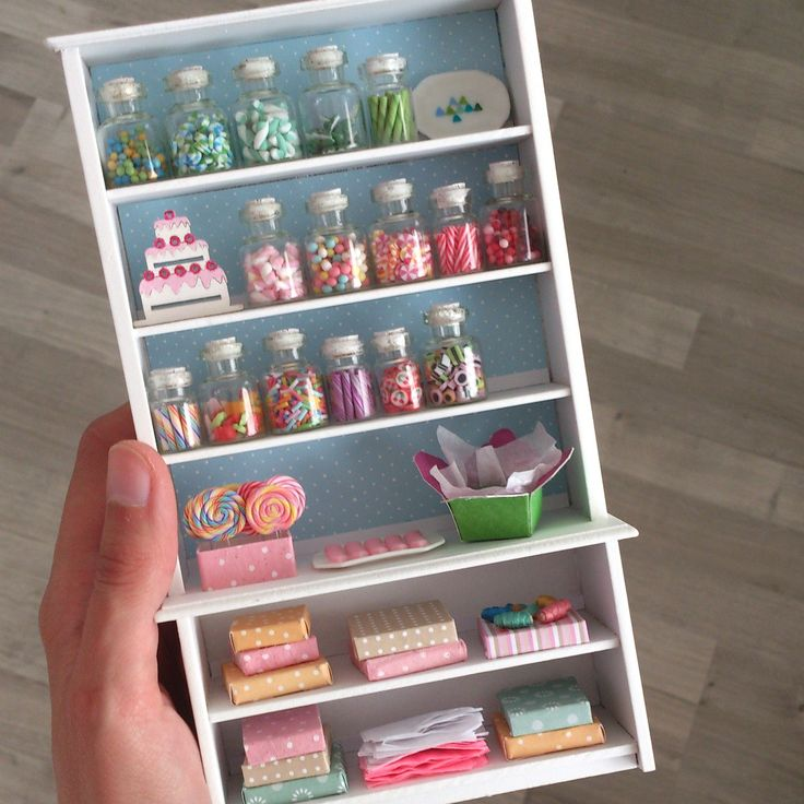 miniature candy shelf like torquoise and white candies
