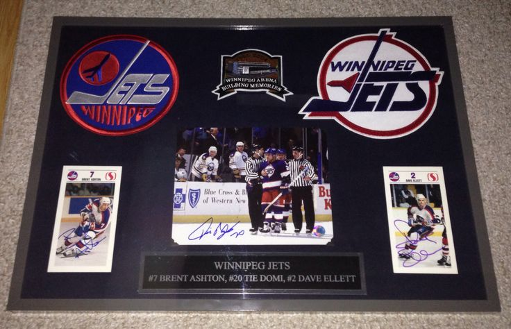 Brent Ashton, Tie Domi and Dave Ellett Winnipeg Jets frame - Contact me at macdonalds.sportsframes@yahoo.ca if you have any questions or would like to request a frame.