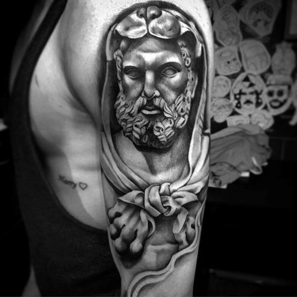 Gentleman With Hercules Half Sleeve Tattoo With Shaded Design