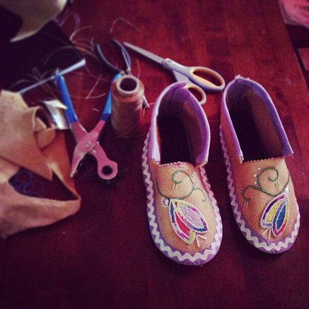 Smoked hide moccasins