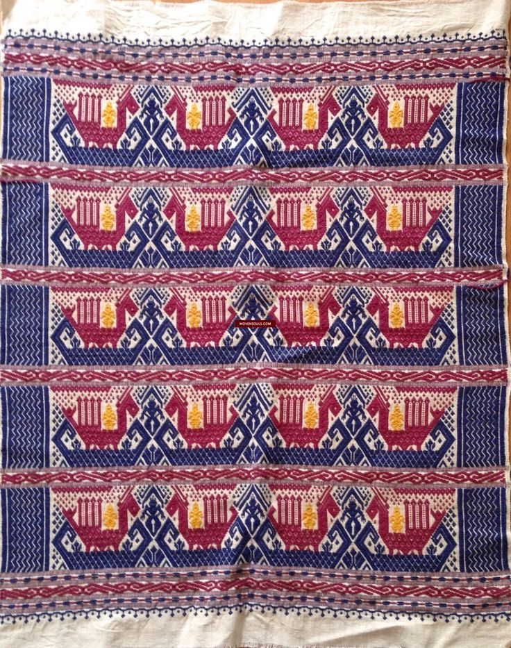 Fine Antiques & Art from WOVENSOULS - Singapore  604B Vintage Tampan Ship Cloth  This work of woven art is in great condition. The cotton yarn used in the weaving is thicker. Simple motifs with ships and dragons. Estimated to be from the 1970s     #art #fabric #traditional #cultural #textiles #vintage #Asian #cloth #handmade #antique #SouthEastAsiaTextile #NovSale #MakeAnOffer #24T
