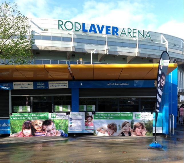 #RodLaverArena decked out in Barnardos images for #Beygood.