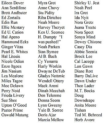 HALLOWEEN TOMBSTONE NAME IDEAS - might be fun in the classroom, too, to see who can figure out the