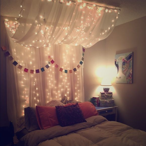Full/Queen Bed Canopy with lights Sheer material with white Christmas lights, ha…