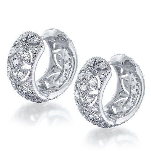 Bling Jewelry Victorian Style Vintage Flower CZ Huggie Hoop Earrings