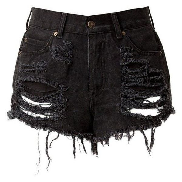 Black High Waisted Denim Shorts Destroyed ❤ liked on Polyvore featuring shorts, high-waisted denim shorts, high rise jean shorts, high-rise shorts, distressed shorts and ripped shorts