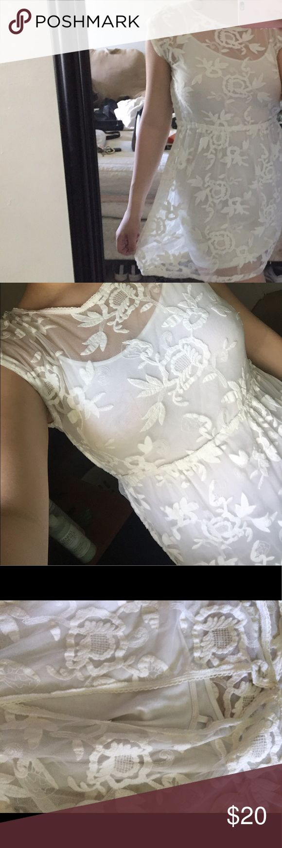 White Lace dress  Perfect for outdoor weddings and parties this summer!  Worn once but was a bit short on me since I'm 5'9.  Open back shown in last pic slip is included but is not attached to the dress Hollister Dresses Mini