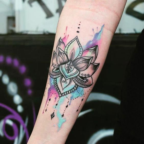 Colorful Lotus tattoo for hand #tattoo #LotusTattoo #Womentriangle #Tattoos