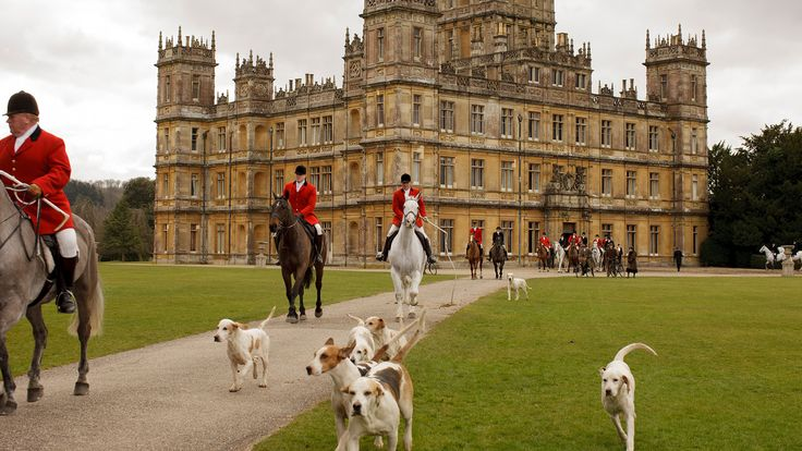 The star of the show, Highclere Castle, in Downton Abbey. Off they go with the dogs to ride in the hunt. | Downton Abbey | Pinterest | Downton abbey