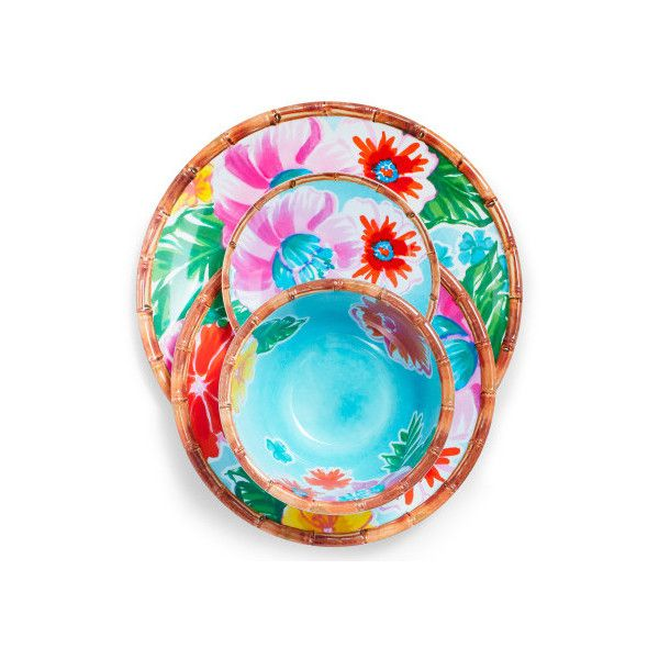 Tropical 12-Piece Melamine Dinnerware Set with 4 Bonus Appetizer... (180 CAD) ❤ liked on Polyvore featuring home, kitchen & dining, dinnerware, melamine salad plates, tropical dinnerware sets, melamine dishware sets, melamine appetizer plates and outdoor tiki torches