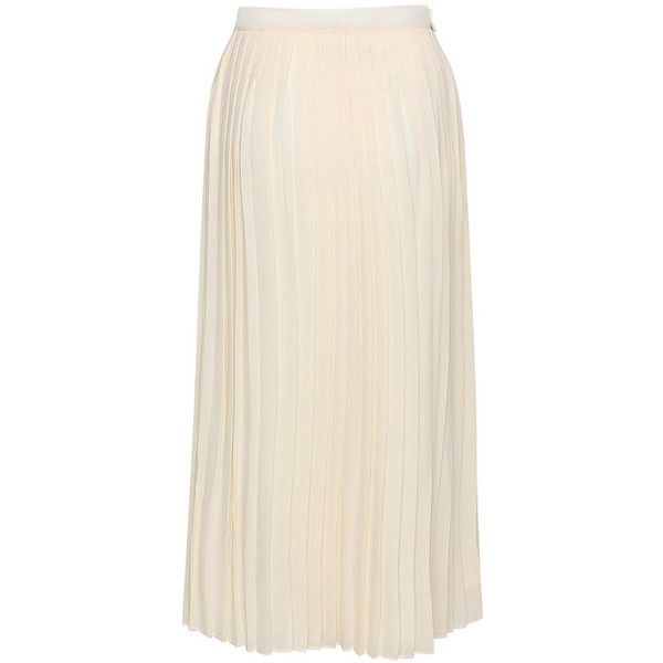 Women Beige Chiffon Pleated Maxi Skirt ($27) ❤ liked on Polyvore featuring skirts, chiffon skirts, floor length skirt, chiffon maxi skirt, beige maxi skirt and long skirts