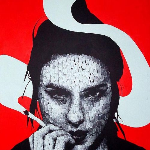 derekgores: Дэвид Томас @dave_thomas_paintings #fingerprintpaintings #figurative #badass #nice TM #derekgoresgallery