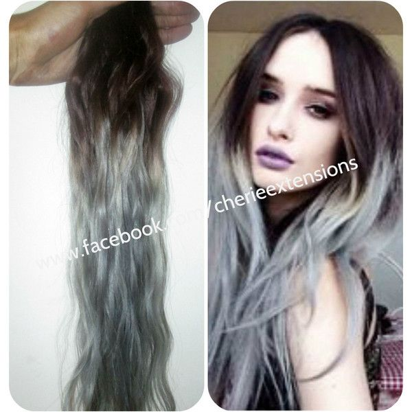 Ombre Balayage Grey Human Clip in Hair Extensions 120g 4 Medium Brown... ($141) ❤ liked on Polyvore featuring beauty products, haircare, bath & beauty, grey, hair care and hair extensions