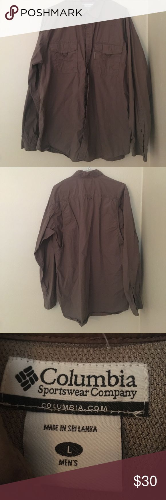 columbia fishing shirt size M. perfect condition. brown colored fishing shirt Columbia Shirts Casual Button Down Shirts