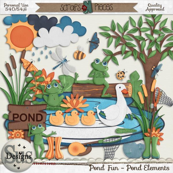 Pond Fun Pond Elements #SusDesigns #DigiScrap #Scrapbook #ScrapsNPieces