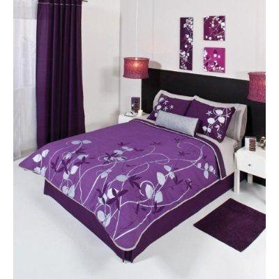 purple stuff | Purple Silver Gray Comforter Bedding Set Queen 5 Pcs