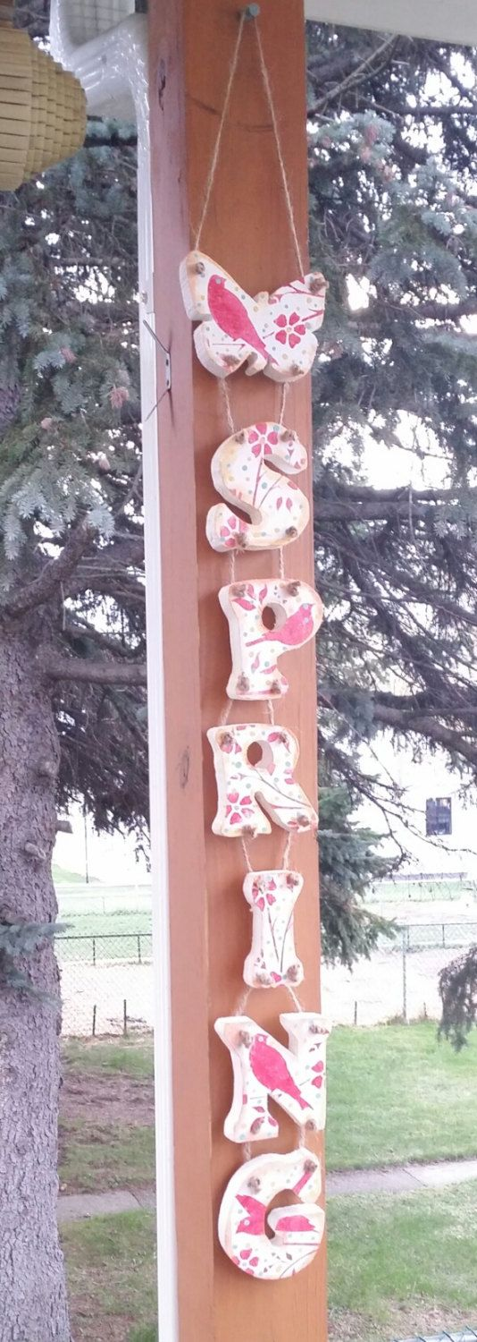 Handmade SPRING WOOD Letter SIGN for patio or deck front porch