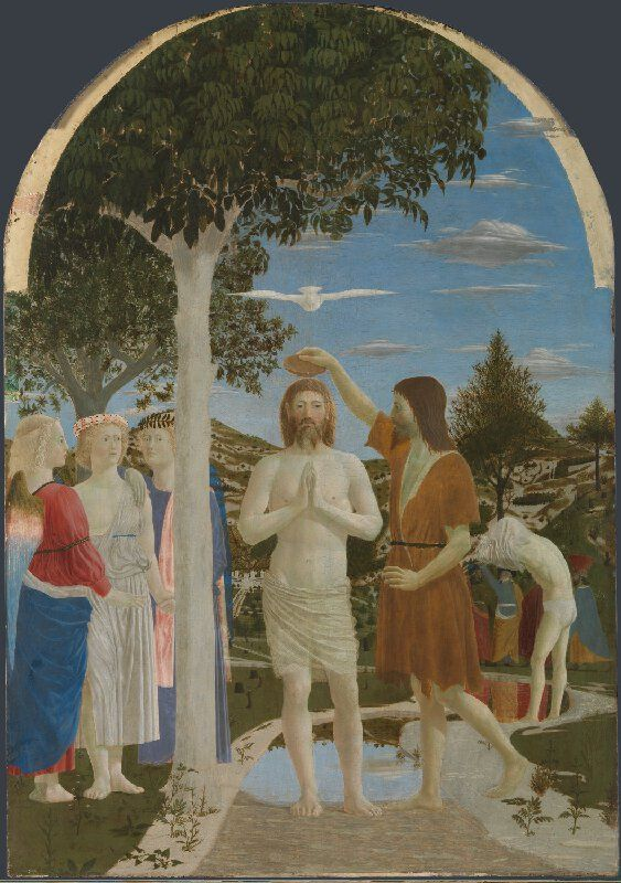 Piero della Francesca, 1415/20-1492, Italian, The Baptism of Christ, 1450s. Egg on poplar, 167 x 116 cm. National Gallery, London. Early Renaissance.