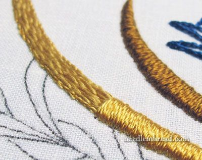 Satin stitch in silk thread via Needle 'N Thread