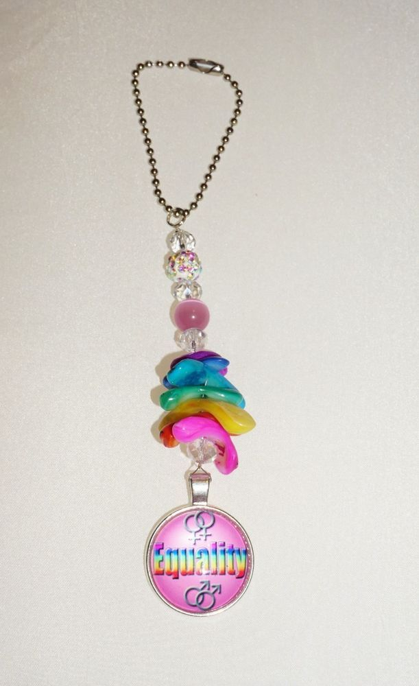 Rainbow, EQUALITY, One of a Kind, Car Mirror Charm,  Handcrafted, LGBT Charm