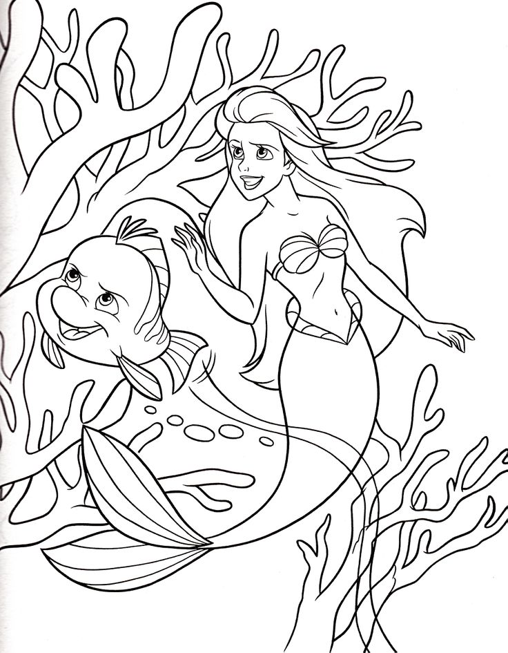 Princess Ariel With Flounder Coloring For Kids