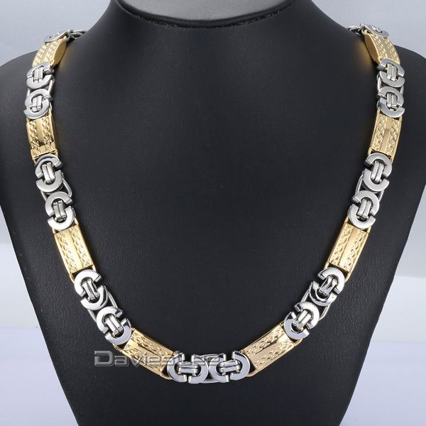 Find More Chain Necklaces Information about Fashion Gift 11mm Mens Chain Boys Necklace Silver Gold Tone Byzantine Link Stainless Steel Necklace/Bracelet 18 36inch DLKN277,High Quality fashionable medical bracelets,China bracelet unisex Suppliers, Cheap bracelet children from DaviesLee Fashion Store on Aliexpress.com