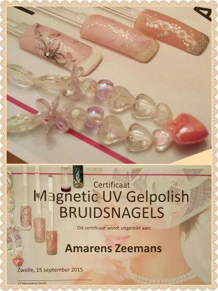 Een certificaat rijker: veel geleerd en inspiratie opgedaan voor Bruidsmanicure & Gelpolish. Nagelversteviging, handmassage, Natural French of inclusief  nailart: overleg wensen voor jullie trouwdag!