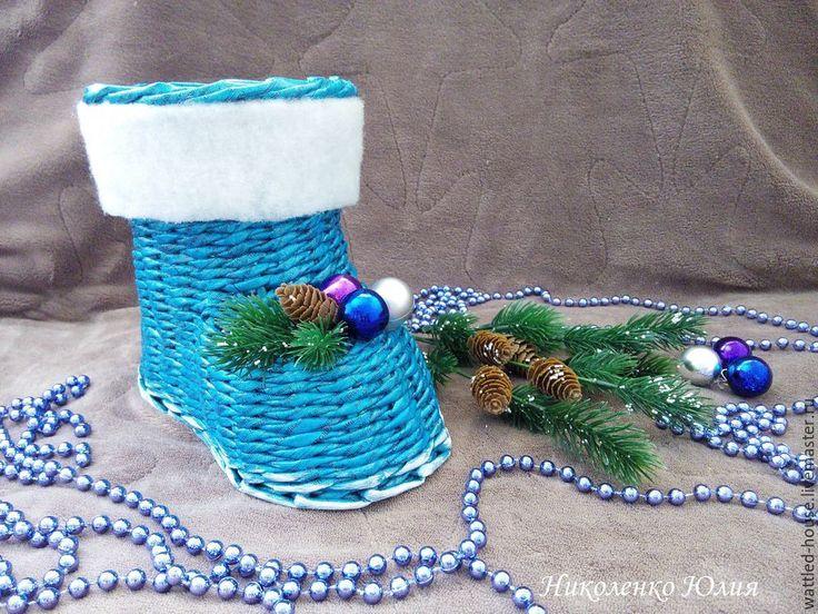 Плетем новогодний сапожок из бумажной лозы - Ярмарка Мастеров - ручная работа, handmade
