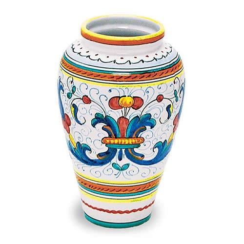 Ricco Italian ceramic vase hand made and hand painted. Italian pottery vase from Deruta.
