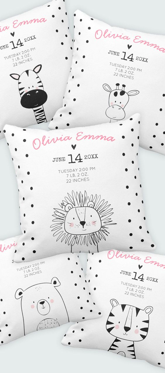 Lovely Baby shower gift or keepsake for your girl or boy nursery. Add your own birth stats. Black and white monochrome nursery decor.