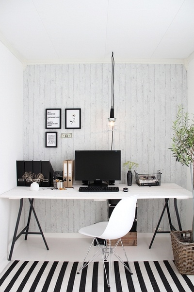 black & white office