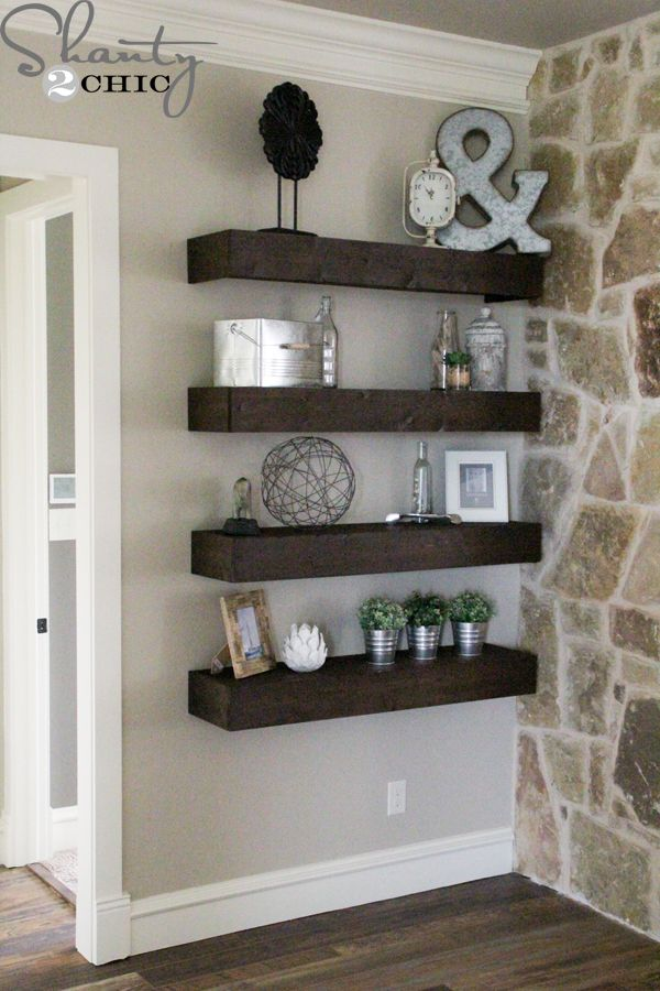 diy floating shelves for my living room - Designs For Living Room Walls