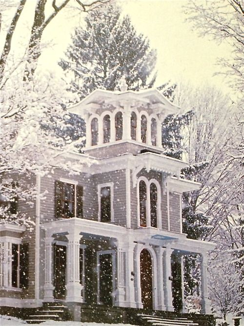 prettie-sweet: nature-and-culture: nature-and-culture : I love this house but I never guessed this picture will be so popular when I posted it less than one week ago…It's a 1860's villa in Northwestern Connecticut. It is so lovely. I would like to see photos of it in all seasons.