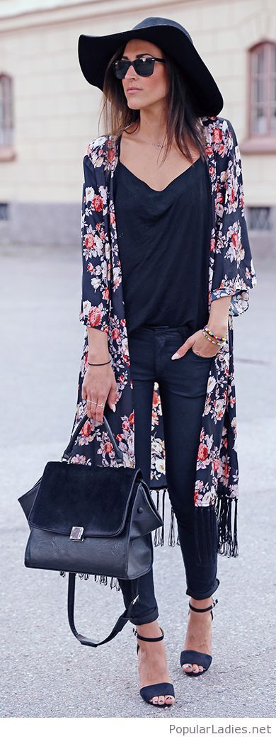 All black outfit with a long floral cardi