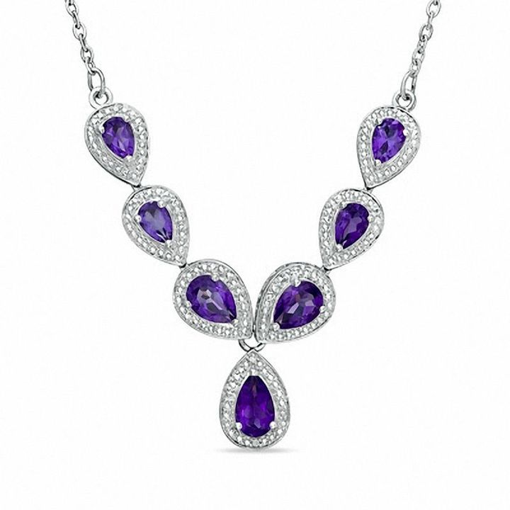 Zales Pear-Shaped Amethyst and Diamond Accent Necklace in Sterling Silver