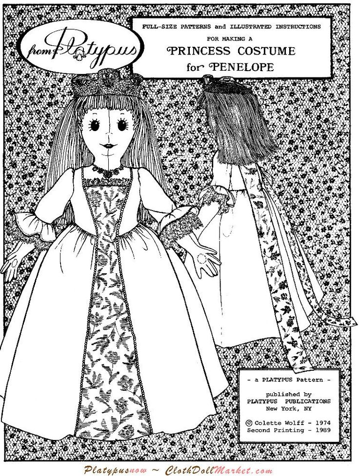 PENELOPE DOLL Costume Set by Colette Wolff - Cloth Doll Pattern
