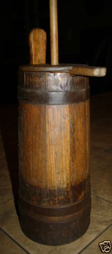Antique Country Primitive Wooden Butter Churn with Piggin Handle, 19th Century