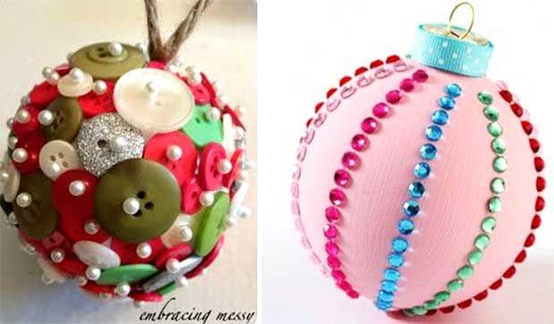 Новогодние игрушки из пуговиц и пайеток