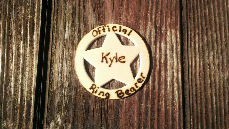 ring security, personalized ring bearer badge, rustic wedding boutineer,  country western ring bearer pin. $12.00, via Etsy.