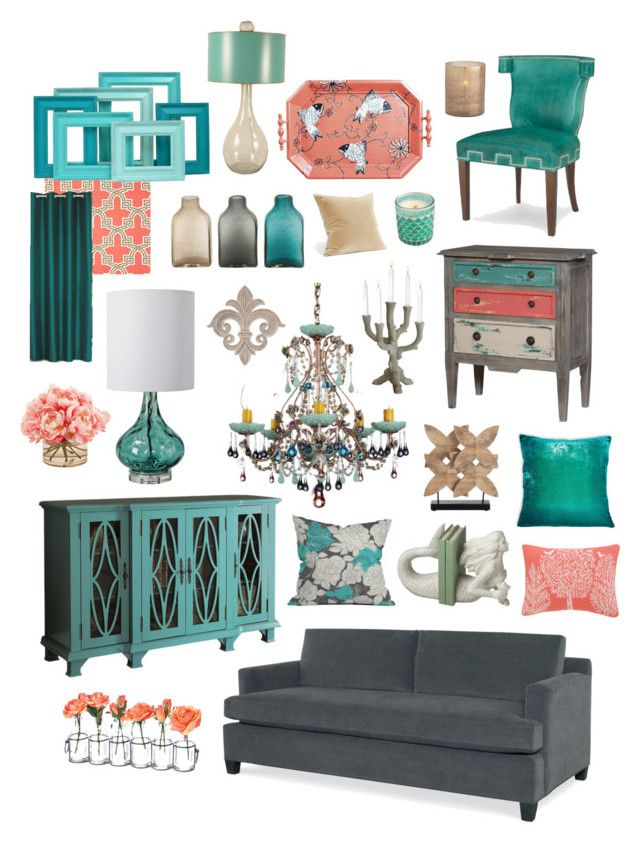"""Simply Contemporary in Gray, Teal & Coral"" by crystalliora ❤ liked on Polyvore featuring interior, interiors, interior design, home, home decor, interior decorating, Kevin O'Brien, Schonbek, Regina-Andrew Design and Dot & Bo"