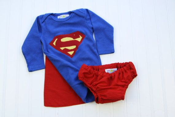 Appliqued Superman Onesie, Diaper, and Cape- Superbaby! on Etsy, $30.00